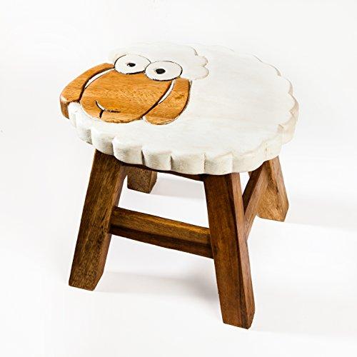 Kinderhocker, Schemel, Kinderstuhl massiv aus Holz mit Tiermotiv Schaf, Schäfchen, 25 cm Sitzhöhe für unsere Kindersitzgruppe
