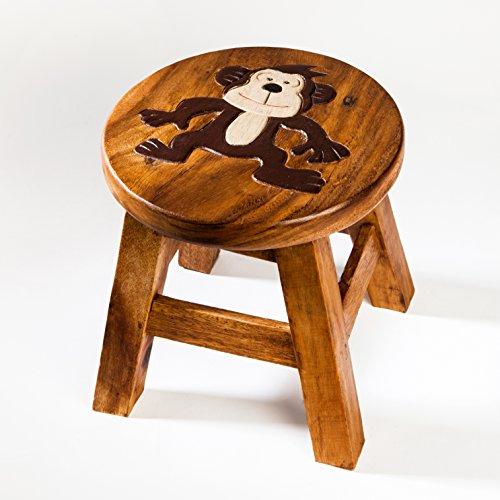 Kinderhocker, Schemel, Kinderstuhl massiv aus Holz mit Tiermotiv Affe, 25 cm Sitzhöhe für unsere Kindersitzgruppe