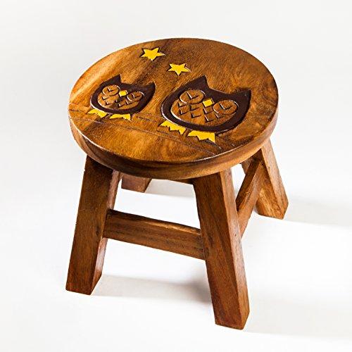 Kinderhocker, Schemel, Kinderstuhl massiv aus Holz mit Tiermotiv Eule 25 cm Sitzhöhe für unsere Kindersitzgruppe