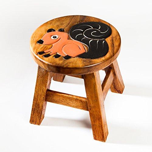 Kinderhocker, Schemel, Kinderstuhl massiv aus Holz mit Tiermotiv Eichhörnchen, 25 cm Sitzhöhe für unsere Kindersitzgruppe