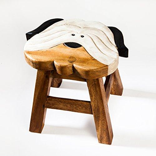 Kinderhocker, Schemel, Kinderstuhl massiv aus Holz mit Tiermotiv Hund, Terrier, 25 cm Sitzhöhe für unsere Kindersitzgruppe