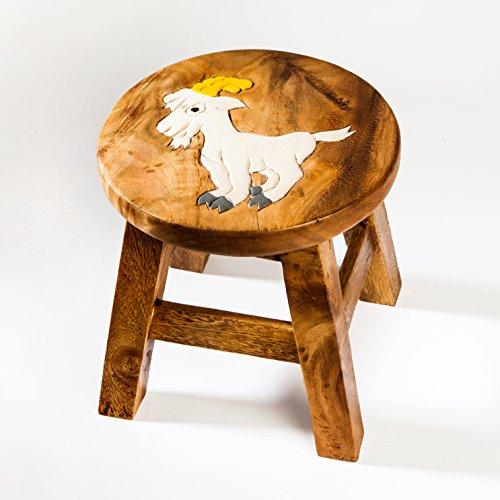 Kinderhocker, Schemel, Kinderstuhl massiv aus Holz mit Tiermotiv Ziege, 25 cm Sitzhöhe für unsere Kindersitzgruppe