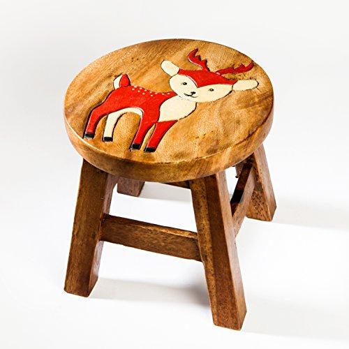 Kinderhocker, Schemel, Kinderstuhl massiv aus Holz mit Tiermotiv Reh, Hirsch, 25 cm Sitzhöhe für unsere Kindersitzgruppe