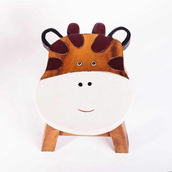 Kinderhocker, Schemel, Kinderstuhl massiv aus Holz mit Tiermotiv Giraffe, 25 cm Sitzhöhe für unsere Kindersitzgruppe