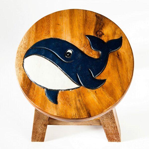 Kinderhocker, Schemel, Kinderstuhl massiv aus Holz mit Tiermotiv Wal, Fisch, 25 cm Sitzhöhe für unsere Kindersitzgruppe