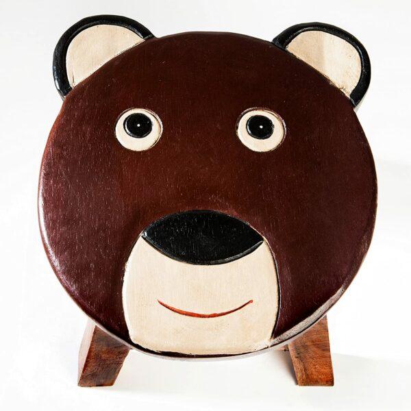 Kinderhocker, Schemel, Kinderstuhl massiv aus Holz mit Tiermotiv Teddy Bär, 25 cm Sitzhöhe für unsere Kindersitzgruppe
