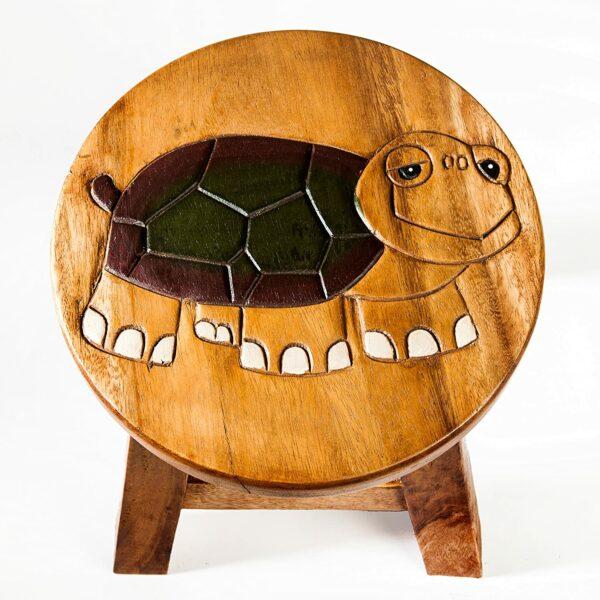 Kinderhocker, Schemel, Kinderstuhl massiv aus Holz mit Tiermotiv Schildkröte, 25 cm Sitzhöhe für unsere Kindersitzgruppe