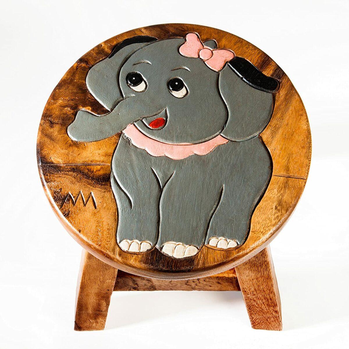 Kinderhocker, Schemel, Kinderstuhl massiv aus Holz mit Tiermotiv Elefant, 25 cm Sitzhöhe für unsere Kindersitzgruppe