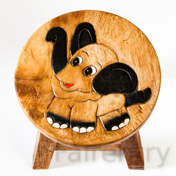 Kinderhocker, Schemel, Kinderstuhl massiv aus Holz mit Tiermotiv Elefant 25 cm Sitzhöhe für unsere Kindersitzgruppe