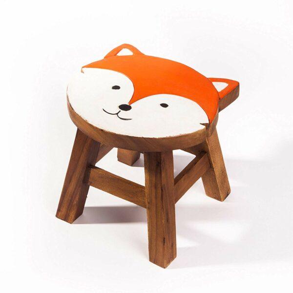 Kinderhocker, Schemel, Kinderstuhl massiv aus Holz mit Tiermotiv Fuchs, 25 cm Sitzhöhe für unsere Kindersitzgruppe