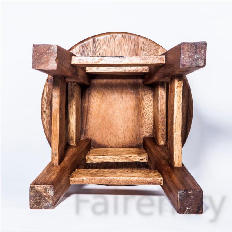 Kinderhocker, Schemel, Kinderstuhl massiv aus Holz mit Tiermotiv Katze, 25 cm Sitzhöhe für unsere Kindersitzgruppe