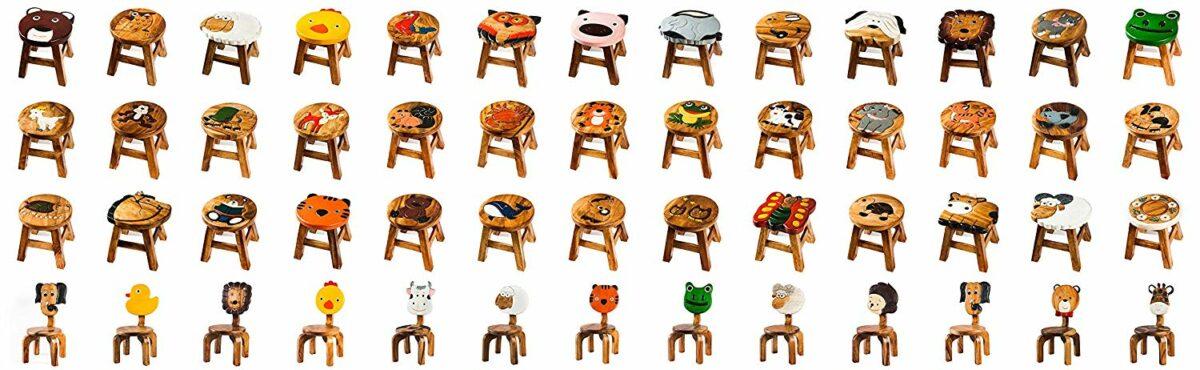 Kinderhocker, Schemel, Kinderstuhl massiv aus Holz mit Tiermotiv Tiger, 25 cm Sitzhöhe für unsere Kindersitzgruppe