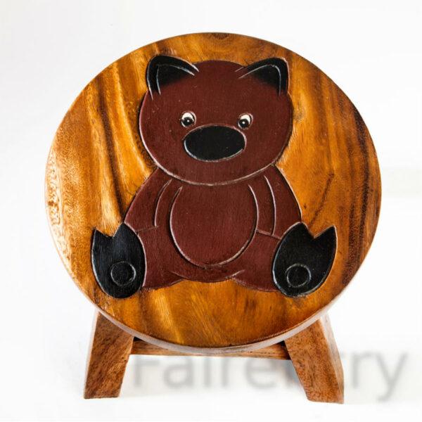 Kinderhocker, Schemel, Kinderstuhl massiv aus Holz mit Tiermotiv Baer, 25 cm Sitzhöhe für unsere Kindersitzgruppe