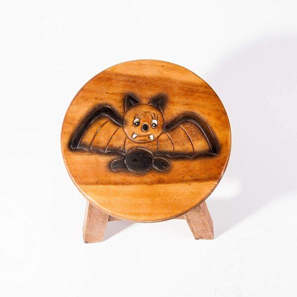 Kinderhocker, Schemel, Kinderstuhl massiv aus Holz mit Tiermotiv Fledermaus, 25 cm Sitzhöhe für unsere Kindersitzgruppe