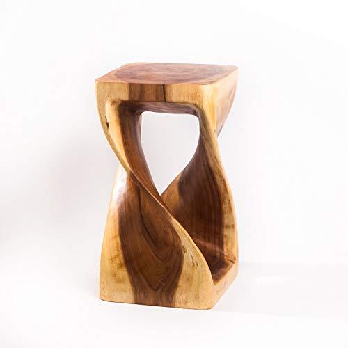 Gedrehter Hocker aus Holz, Holzhocker Natur und massiv, 50 x 28 x28 cm geeignet auch als Beistelltisch, Blumenständer oder Blumensäule
