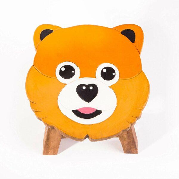 Kinderhocker, Schemel, Kinderstuhl massiv aus Holz mit Tiermotiv Bär, Teddy, Teddybär für unsere Kindersitzgruppe