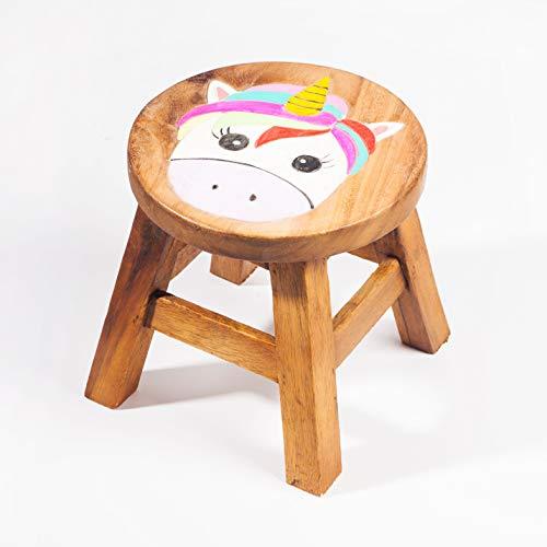 Kinderhocker, Schemel, Kinderstuhl massiv aus Holz mit Tiermotiv Einhorn, 25 cm Sitzhöhe für unsere Kindersitzgruppe