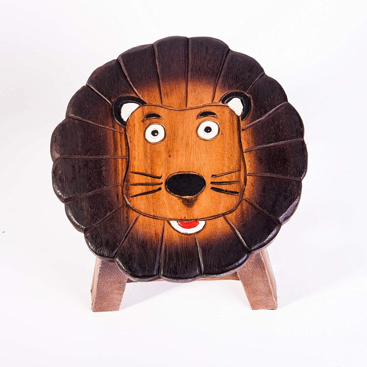 Kinderhocker, Schemel, Kinderstuhl massiv aus Holz mit Tiermotiv Löwe, 25 cm Sitzhöhe für unsere Kindersitzgruppe