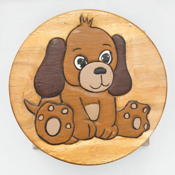 Kinderhocker, Schemel, Kinderstuhl massiv aus Holz mit Tiermotiv Hund, 25 cm Sitzhöhe für unsere Kindersitzgruppe